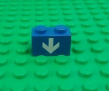 Lego Blue 1x2 Brick White Down Arrow Classic Space Rare Brick x 1 piece
