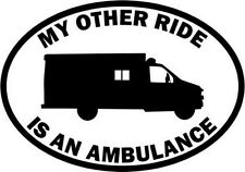 "RIDE AMBULANCE OCCUPATION Vinyl Decal Sticker-6"" Tall White Color"