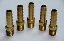 "Brass Fittings: Brass Male Hose Barb, Male Pipe Size 1/8"", Hose ID 5/16"", QTY. 5"