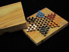 """Chinese Checkers 5.2""""x 4.53"""" wooden travel board game"""