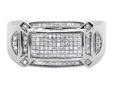 Men's 10K White Gold Rectangular Real Diamond Wedding Band Pinky Ring