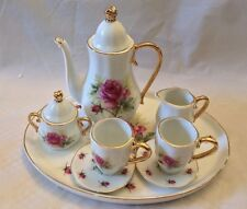 Fine Porcelain Beautiful Pink Roses 10 PCS Miniature Tea Set