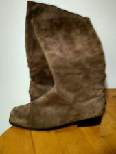 Classique Womens Brown Suede Leather Pull-On Style Boots Size 10 M Extra Wide