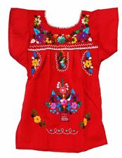 Mexican Embroidered Dress Hippie Tunic Smock Sz 1-10 Youth Child Kids Girls