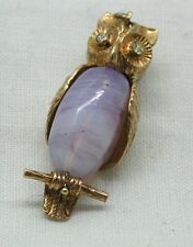 Fabulous 9ct Golf & Marbled Glass ? Owl Pendant