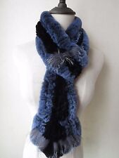 Warm Fashion soft/Real rex rabbit fur silver fox closely woven scarf/blue black