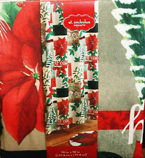 CHRISTMAS FABRIC SHOWER CURTAIN HOLLY POINSETTIAS TREES PEACE RED GREEN KHAKI