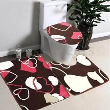 3pc Tapis Toilettes Couvercle Salle De Bain WC Cuvette Anti-dérapant Amour Coeur