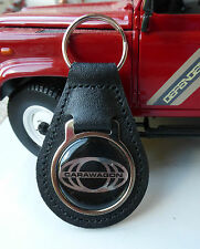 Land Rover Series Carawagon Camper Period Classic Black Leather Key Ring Fob