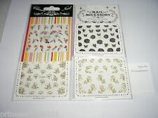 4 Packs Nail Stickers Gold Silver Pink Glitter Butterfly Job Lot Transfer Set 13