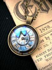 Butterfly Clock Gears Steampunk Necklace Pendant Bronze Fantasy Gothic Pagan