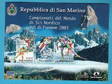 2003 SAN MARINO FOGLIETTO 3 VALORI  MONDIALI SCI NORDICO VAL DI FIEMME MNH **