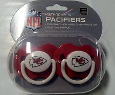 Kansas City Chiefs Baby Infant Pacifiers NEW - 2 Pack   GREAT SHOWER GIFT!