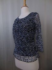 Alfani Petite Animal Print Cropped Sleeve Lace Overlay Top PS Black & Blue #1726