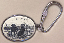 Key Ring Barlow Scrimshaw Carved Painted Art Labradors Labs Dog Black 302545 NEW