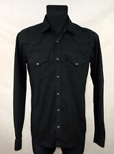 NUDIE JEANS MENS SNAPS PRESS STUD BUTTON BLACK SHIRT made in PORTUGAL size M