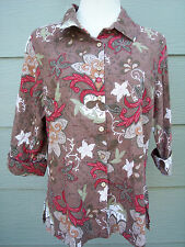 First Issue Liz Claiborne Woman Shirt Sz L Floral Brown Red Green 3/4 Sleeve Top