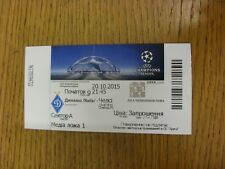 Billete De 20/10/2015: Dynamo Kiev V] [Liga de Campeones Chelsea. gracias por ver