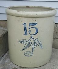 Nice Bold Antique 15 Gallon Red Wing Birch Leaf Ski Oval Stoneware Crock