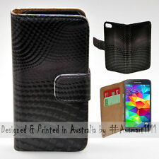 Wallet Phone Case Flip Cover for Samsung Galaxy S5 - 3D Block Wave Pattern Print