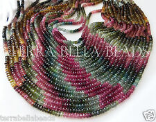 "7"" AAA WATERMELON TOURMALINE faceted gem stone rondelle beads 4mm - 4.5mm multi"