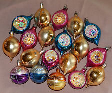 19 Vintage Mercury Glass Tear Drop Reflector Indent Christmas Ornaments Poland