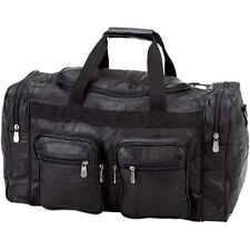 "Black 21"" Genuine Leather Duffle Bag, Mens Overnight Carry-On Travel Luggage Gym"