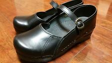 Sanita Black Leather Comfort Clogs Mary Janes size 7.5-8 M (38)