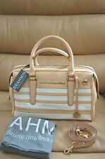 NWT $365 Brahmin Gemma Iris Corsica Satchel Handbag Pebble Leather White Gold