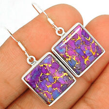 Copper Purple Arizona Turquoise 925 Sterling Silver Earrings Jewelry PCTE1137