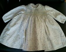 Sarah Louise 12 M baby girl light green smocked dress leaves pattern lined EUC