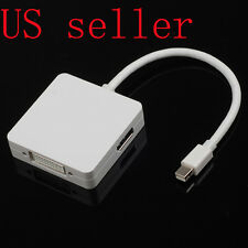"3 in 1 Mini DisplayPort DP to DP DVI HDMI Cable Adapter For Macbook AIR 13"" 11"""