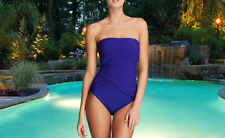 NWT GOTTEX Blue Beach Goddess SLIMMING Bandeau 1 pc BATHING SUIT SWIMSUIT SZ 16