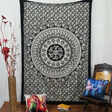 Mandala Indian Hanging Cotton Wall Tapestry Twin Size Black Bohemian Decor Throw