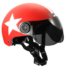 DOT RED MOTORCYCLE SCOOTER BICYCLE HELMET HALF OPEN FACE VISOR SHIELD ADJUSTABLE