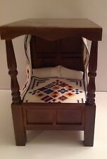 Dolls House Dark Wood Four Poster Bed