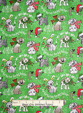 Christmas Fabric - Puppy Dog Toss Holiday Silver Glitter Fabric Tradition - 11""
