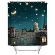 Cat on House Roof With Stars Bathroom Shower Curtain Polyester Hooks