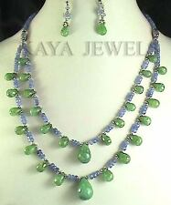 251 Cts NATURAL TANZANITE & EMERALD FACETED BRIOLETTES BEAD NECKLACE W EARRING