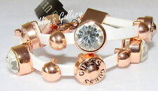 GUESS Jeans Rhinestones faux leather Bangle Bracelet Rose Gold Tone Charms  NWT