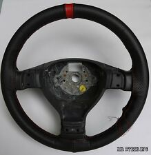 FOR VW GOLF MK4 BLACK PERFORATED LEATHER WITH RED STRIPE STEERING WHEEL COVER