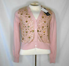 Gorgeous New $138 KAREN KANE Winter Rose Luxurious Beaded V-Neck Cardigan Large