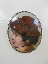 Antique Victorian Era Hand Painted  Italian Porcelain Silver Portrait Pin Brooch