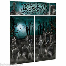 Gothic Halloween DEAD END CEMETERY Graveyard Scene Setter Wall Decorating Kit