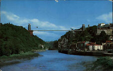 Bristol Color AK 1973 Clifton Suspension Bridge from Ashton Fly Over Brücke Fluß