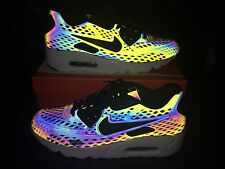 New Nike Air Max 90 Ultra Moire Holographic - Deep Pewter/Black-Porpoise UK 9