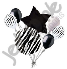 7 pc Black Zebra Print Balloon Bouquet Happy Birthday Baby Shower Animal Stripes