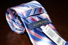 New Club Room Pink/White/Blue Striped Classic Men's Neck Tie 3 1/2 in. Wide