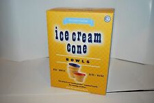 WILLIAMS SONOMA ICE CREAM PARTY CONE BOWLS S/4 CERAMIC NEW RED BLUE WHITE GOLD