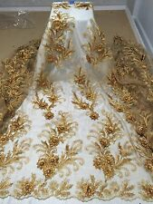 "GOLD METALLIC FLORAL EMBROIDERY RHINESTONE LACE FABRIC 50"" WIDE 1 YARD"